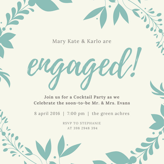 Mint Wreath Engagement Invitation Templates By Canva Engagement – Engagement Invite Templates