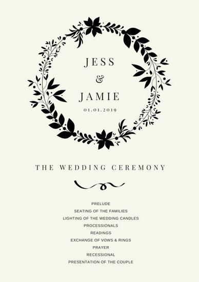 Simple Black Wedding Program - Templates by Canva