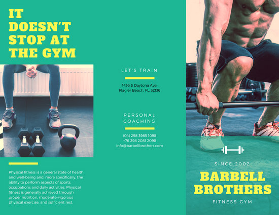 Green and Yellow Fitness Brochure - Templates by Canva - fitness brochure template
