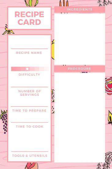 index card recipe template