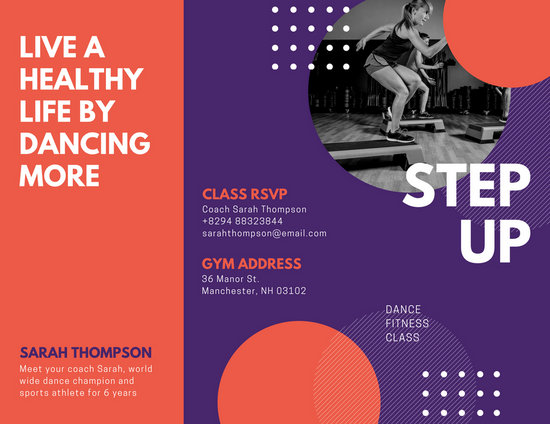 Purple Red Funky Photo Fitness Trifold Brochure - Templates by Canva