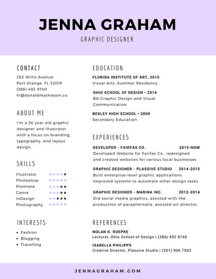 Lavender Graphic Design Resume - Templates by Canva