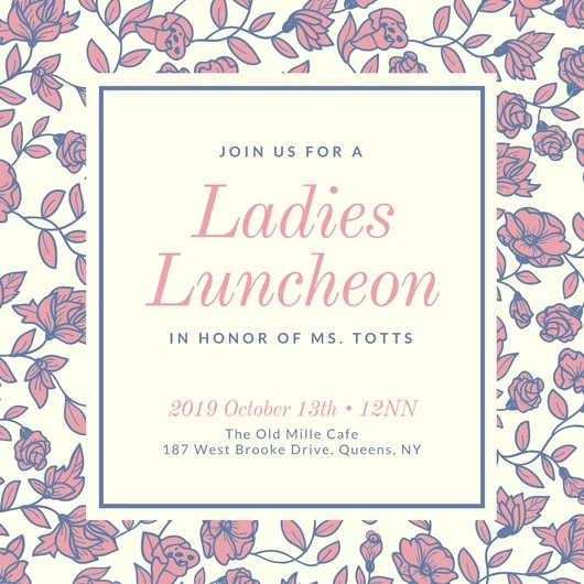Cream with Floral Background Ladies Luncheon Invitation - Templates - lunch invitation template