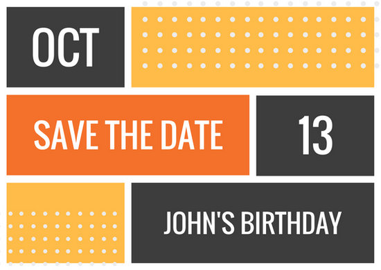 Orange Blocks with Dots Bold Birthday Save the Date Postcard - save the date birthday template