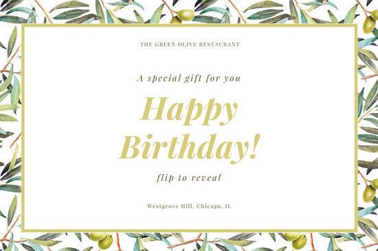 Green Olive Plant Elegant Dinner Restaurant Birthday Gift