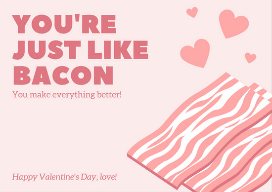 Pink Bacon Valentine\u0027s Day Card - Templates by Canva