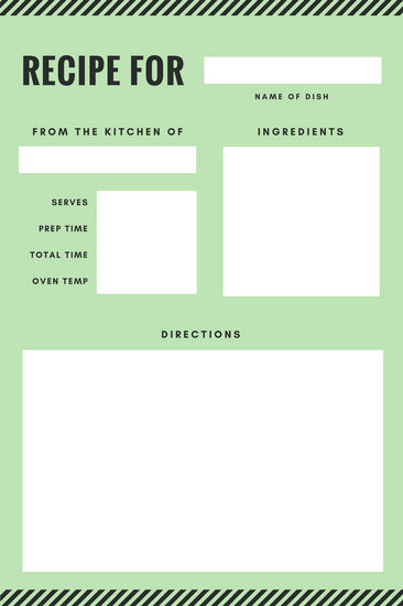 Green and Black Stripes Recipe Card - Templates by Canva