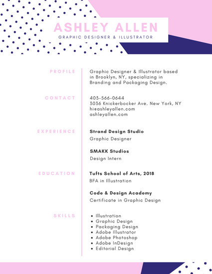 Pink Blue Graphic Designer Creative Resume - Templates by Canva