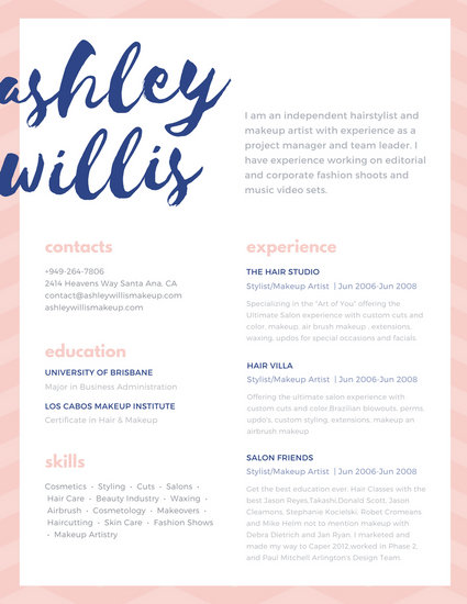 Pink Blue Script Creative Makeup Artist Resume - Templates by Canva