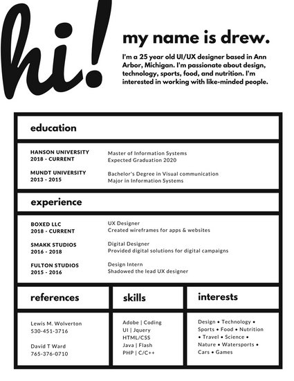 Monochromatic Boxes Creative Resume - Templates by Canva