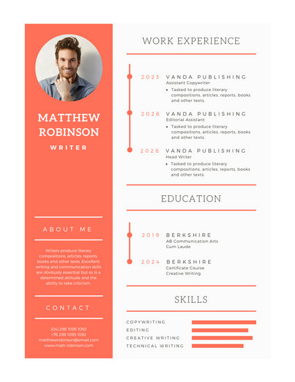 Orange and White Modern Resume - Templates by Canva - modern resume