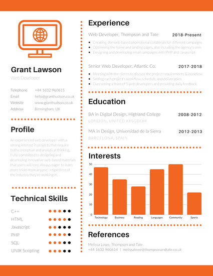 Orange and White Infographic Resume - Templates by Canva