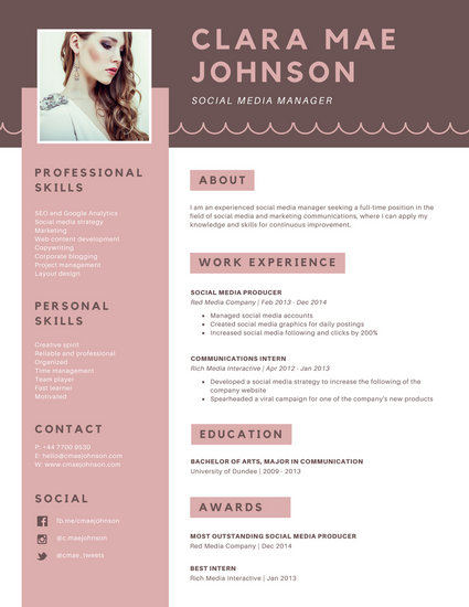 Pink Brown Simple Photo Modern Resume - Templates by Canva - photo on resume