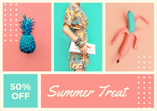 Pink and Blue Fashion Sale Collage Postcard - Templates by Canva - postcard collage template