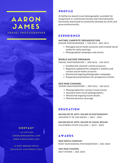 Blue Photo Photographer Modern Resume - Templates by Canva - photography skills resume
