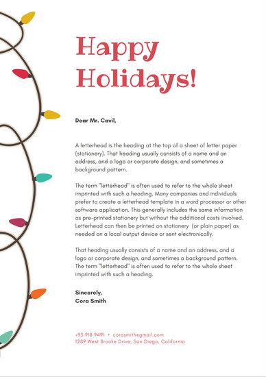 White with Christmas Lights Vector Christmas Letterhead - christmas letterhead templates word