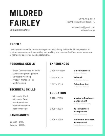 Turquoise Simple Modern Resume - Templates by Canva