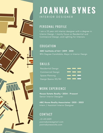 Green Interior Designer Infographic Resume - Templates by Canva - interior design resumes