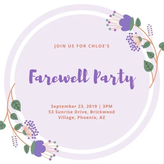 Violet Flower Farewell Party Invitation - Templates by Canva - goodbye party invitation templates