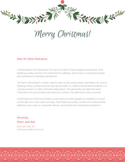 Green Garland Christmas Letterhead - Templates by Canva