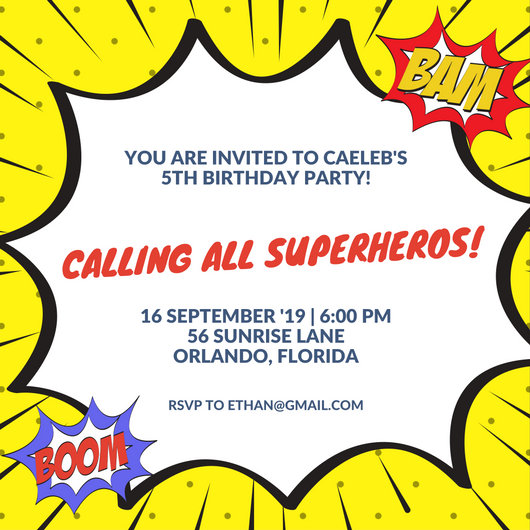 Yellow Popart Superhero Birthday Party Invite - Templates by Canva
