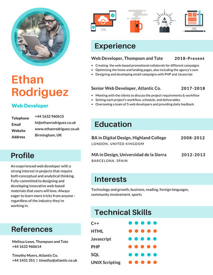 Blue Icons Infographic Resume - Templates by Canva