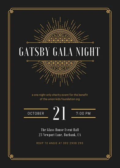 Black and Gold Bordered Great Gatsby Invitation - Templates by Canva