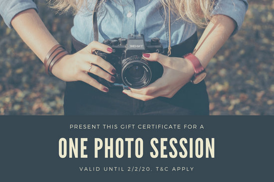 Cream and Dark Blue Photography Gift Certificate - Templates by Canva
