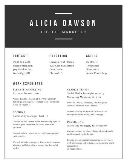 Minimalist Black and White Modern Resume - Templates by Canva