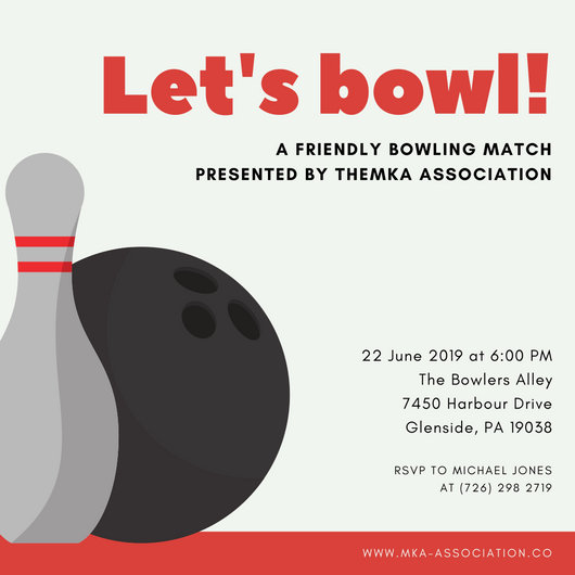 Orange Yellow Pin and Ball Bowling Invitation - Templates by Canva - bowling invitation
