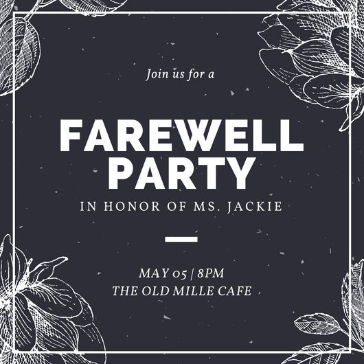 Black and White Vintage Farewell Party Invitation - Templates by Canva