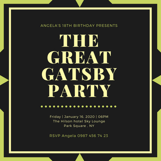 Black and Gold Border Great Gatsby Invitation - Templates by Canva