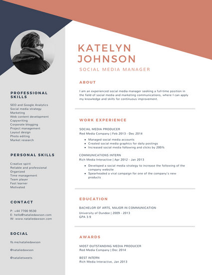 Blue and Brick Red Geometric Modern Resume - Templates by Canva - Resume With Photo Template