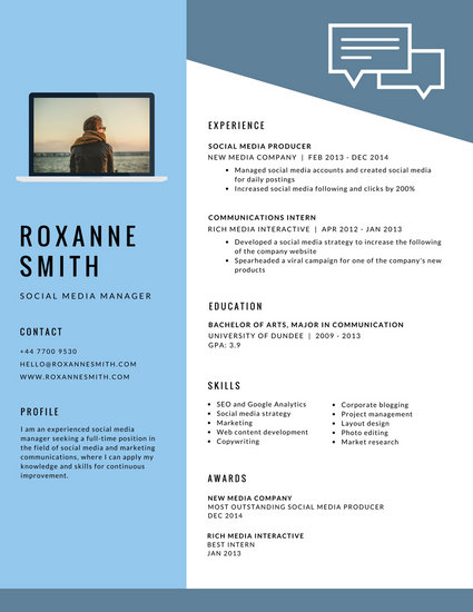 Light Blue Modern Resume - Templates by Canva