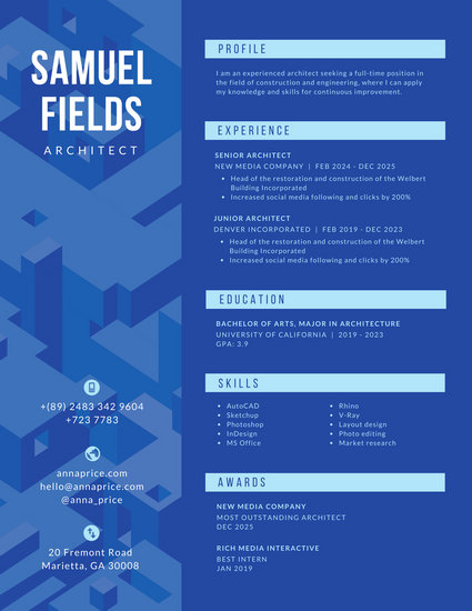 Blue Architect Modern Resume - Templates by Canva