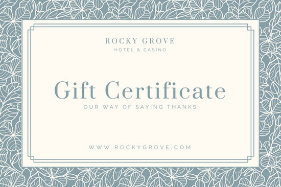 Blue Patterned Hotel Gift Certificate - Templates by Canva