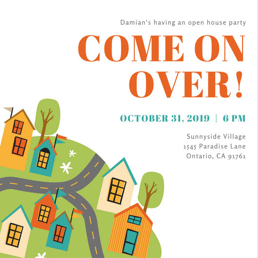 Cute Houses Illustration Open House Invitation - Templates by Canva