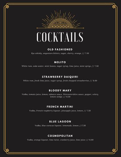 Black and Gold Art Deco Elegant Cocktail Menu - Templates by Canva