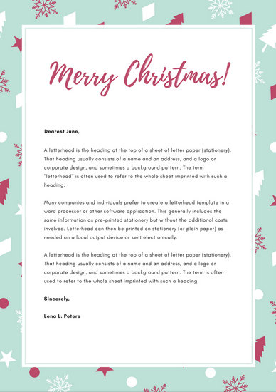 Mint and White Pattern Christmas Letterhead - Templates by Canva - christmas letterhead templates word