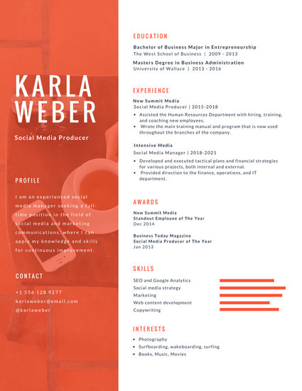 Orange and White Photo Infographic Resume - Templates by Canva - business major resume
