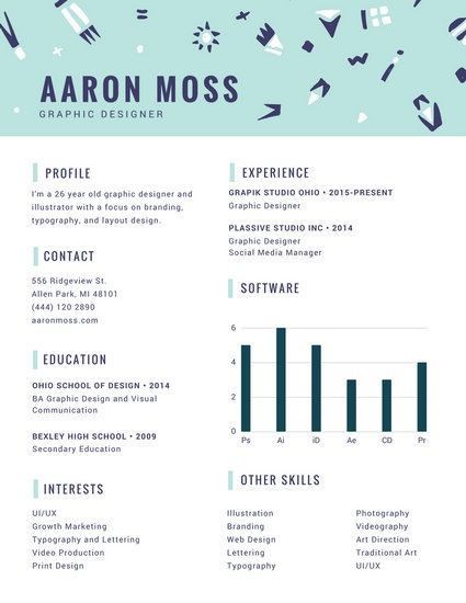 Mint and Blue Playful Pattern Infographic Resume - Templates by Canva