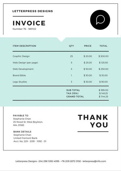 White and Blue Invoice Letterhead - Templates by Canva