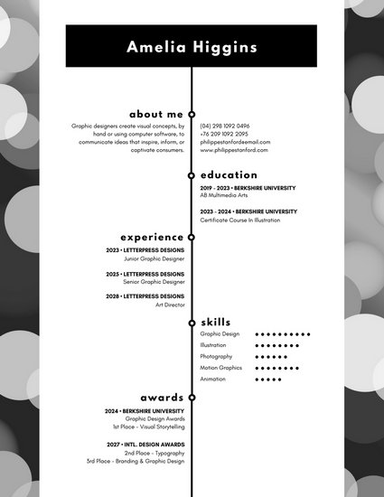 Black and White Bokeh Modern Resume - Templates by Canva - motion graphics resume