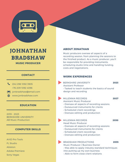 Yellow, Red and Blue Modern Resume - Templates by Canva - professor resume template
