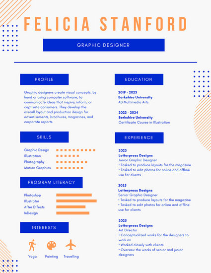 Blue and Orange Abstract Infographic Resume - Templates by Canva - motion graphics resume