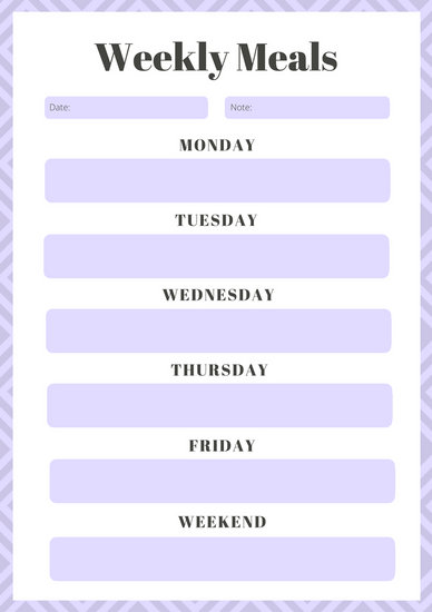 Lavender Weekly Meal Planner Menu - Templates by Canva