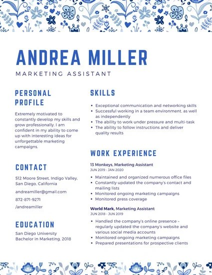 Orange Striped Marketing Assistant Creative Resume - Templates by Canva