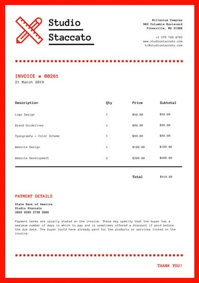 Red and White Modern Design Invoice Letterhead - Templates by Canva - invoice letterhead