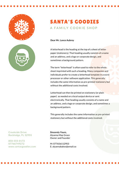 Orange Green Dotted Christmas Letterhead - Templates by Canva