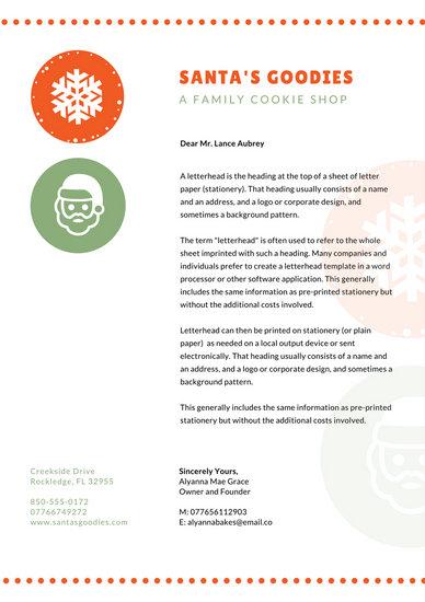 Orange Green Dotted Christmas Letterhead - Templates by Canva - christmas letterhead templates word